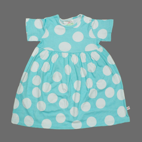 Lolly Wolly Light Blue Big Polka Dots Girls Cotton Dress