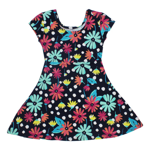 BASIC EDITIONS Flower Printed Navy Blue Girls Premium Cotton Dress
