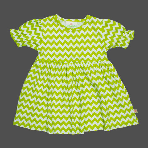 Lolly Wolly Light Green Small Zig Zag Girls Cotton Dress
