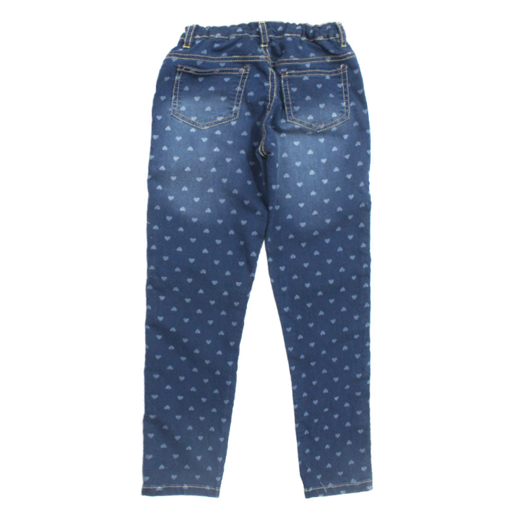 All Over Hearts Printed Girls Blue Denim Jeans