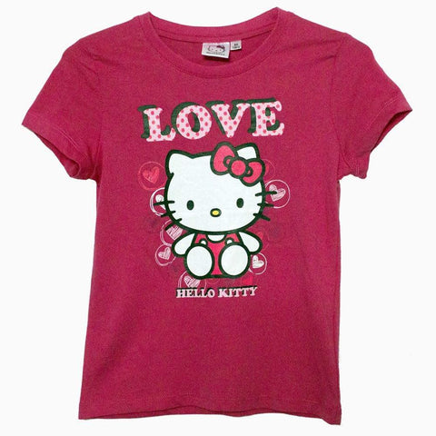 Hello Kitty love u Girls hot pink tshirt