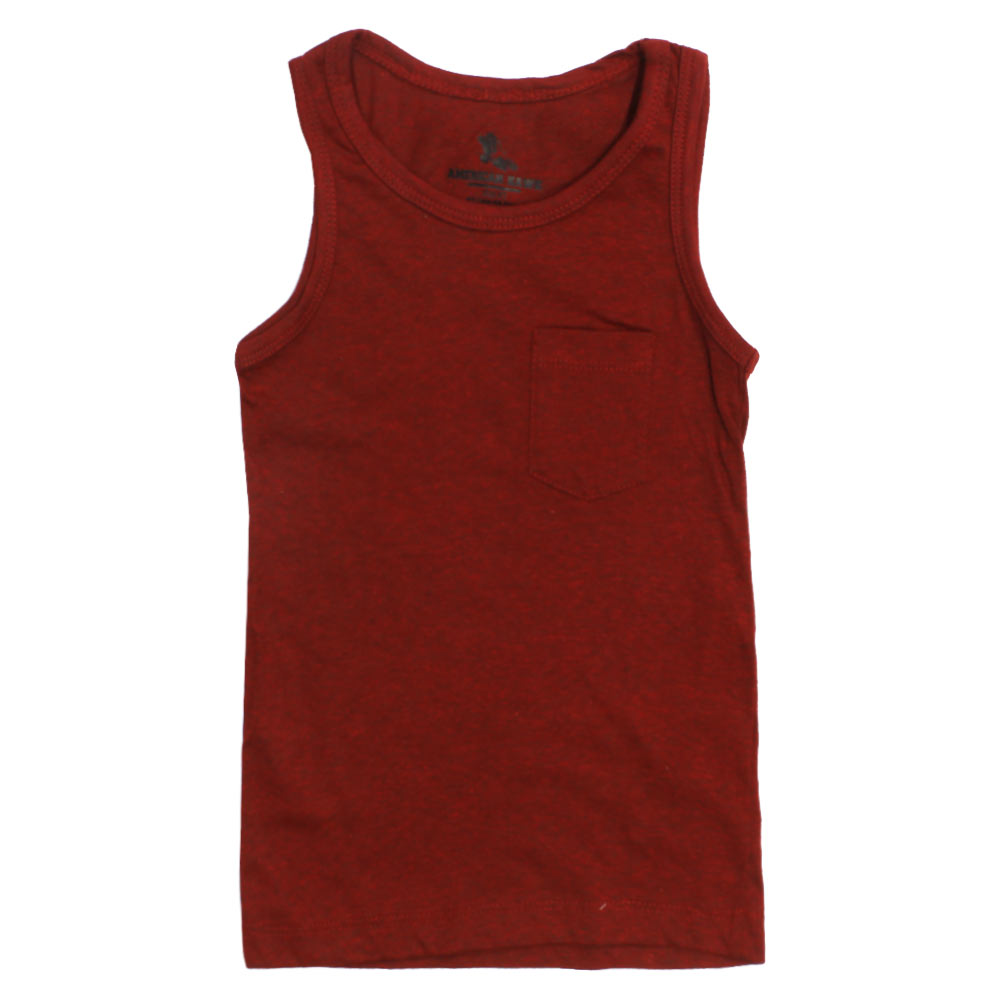 American Hawk Boys Front Pocket Maroon Tank Top