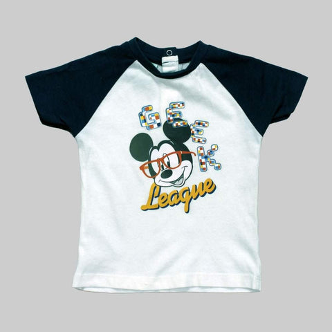 Mickey Geek League Boys Raglan OffWhite Tshirt