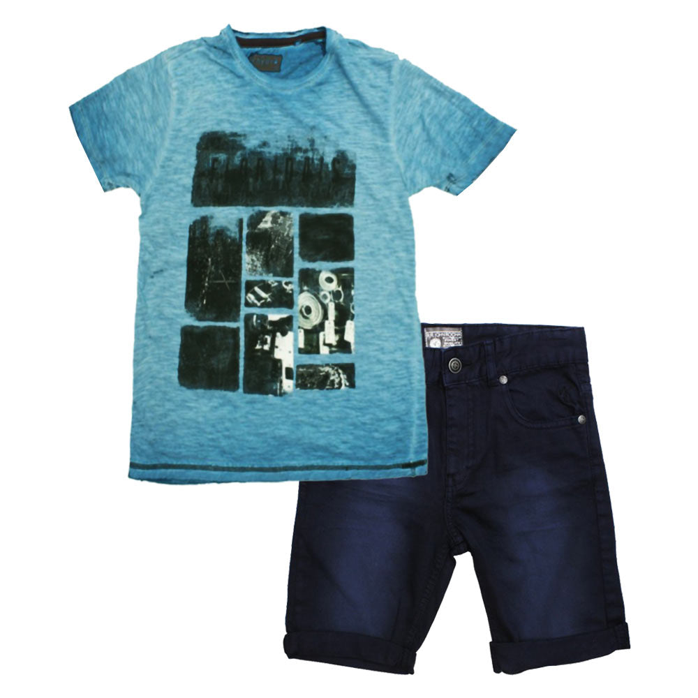 HYDRO Blue Boys Premium Cotton 2 Piece Set