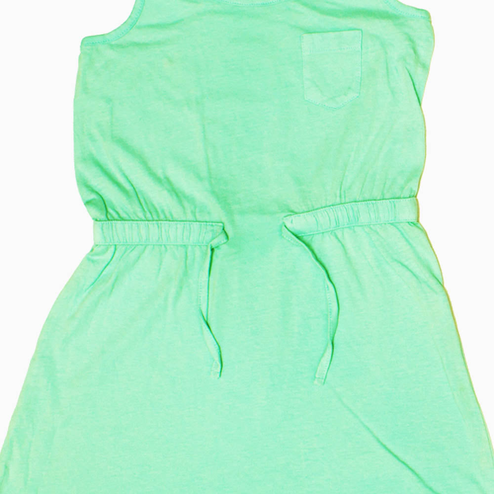 ALIVE Premium Cotton Light Green Girls Dress