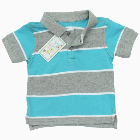 TOTS Boys yarn Dyed Grey and Blue Pique Cotton Polo