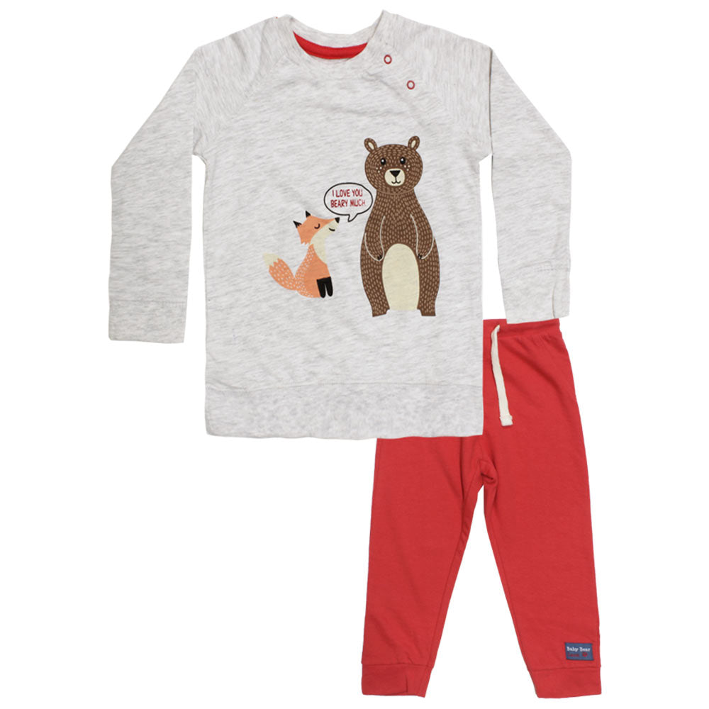 BABY BEAR I Love You Bear Grey Boys 2 Piece Night Suit