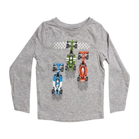 DOPO DOPO Racing Car print Grey Boys Cotton Tshirt