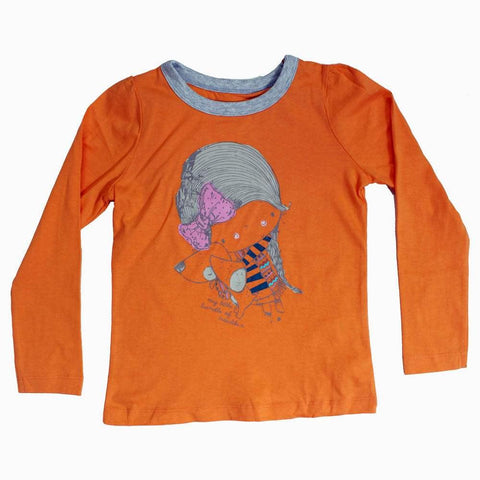 Little Bundle of Trouble Girls Orange t-shirt