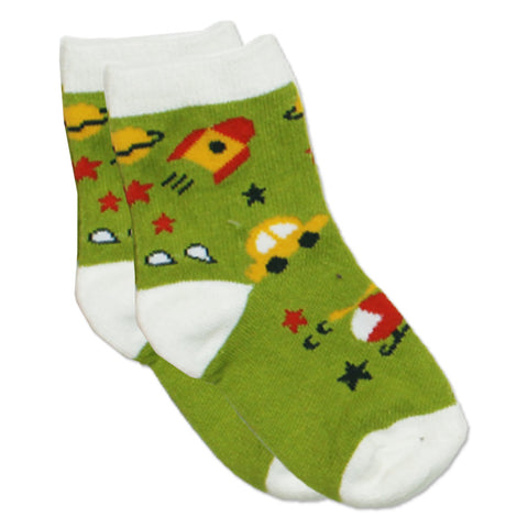Car and Rocket Light Green Cotton Sock