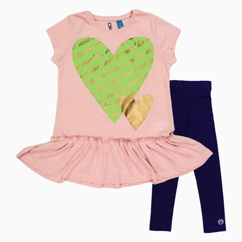 OKAIDI TOO SWEET Baby Pink Hearts Premium 2 Piece Set