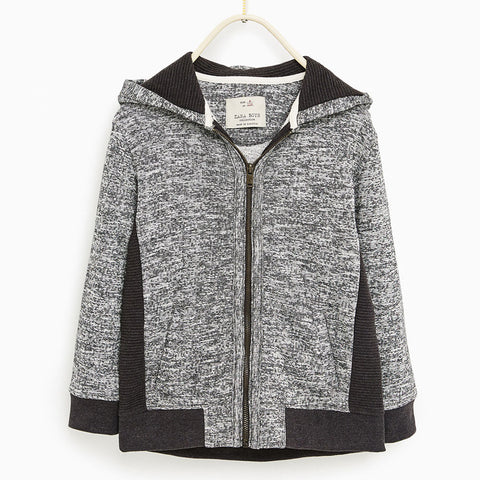 Zara Boys Grey and Black French Terry Hoodie