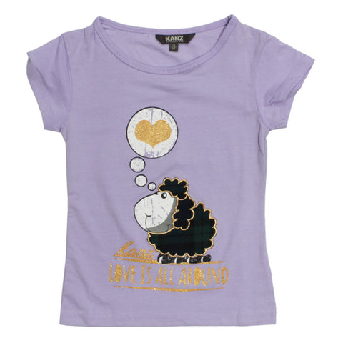 KANZ Glitter Heart Purple Girls Premium Cotton Tshirt