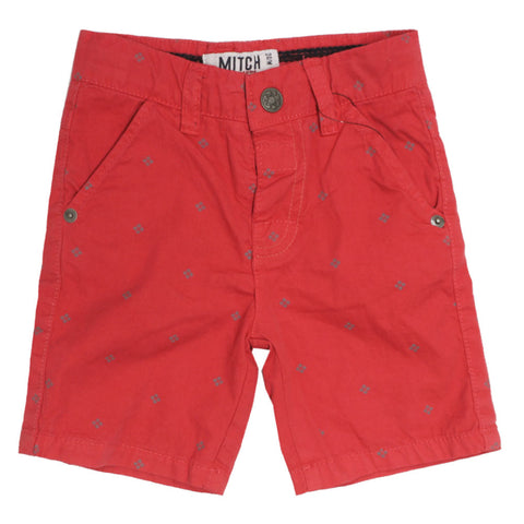 MITCH Abstract Print Red Boys Cotton Short