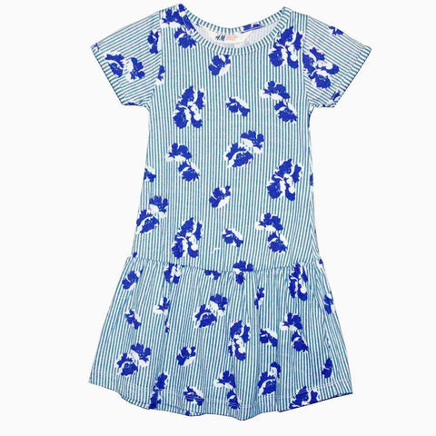 H&M White and blue stripes with blue flower print dress