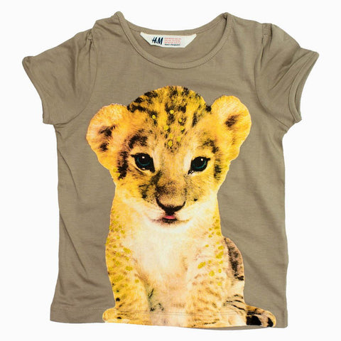 HnM Cute Leopard Glitter Head Girls Tshirt