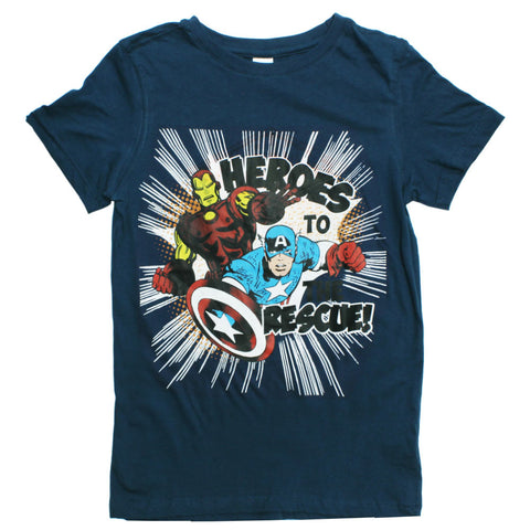 Avengers Heores to Rescue Boys Navy Blue Cotton Tshirt