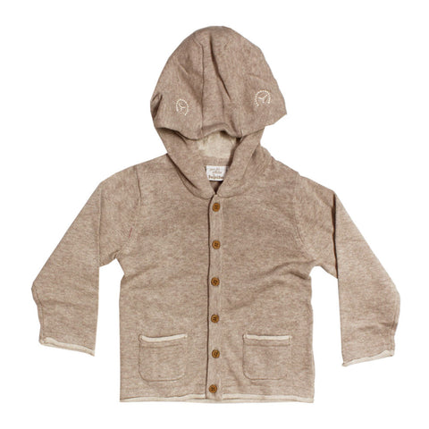 LUPILU Two Pocket Hooded Girls Grey Cotton Sweater