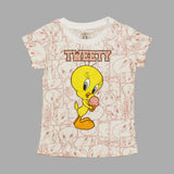 TWEETY All Over Feel Less Print Girls White Tshirt
