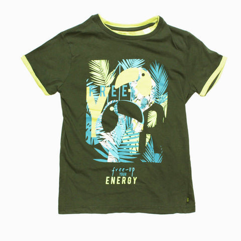OKAIDI Premium Cotton Boys Free Energy Grey Tshirt