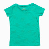 HT Cross Stitched Hearts Girls Premium Cotton Green Tshirt