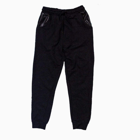 Black boys trouser with inner pocket plane black patch design