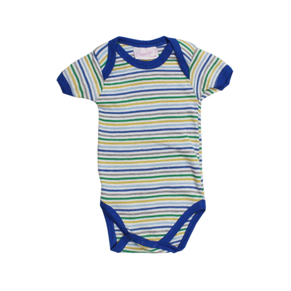 ROCK A BYE Green And Blue Stripes White Cotton Romper
