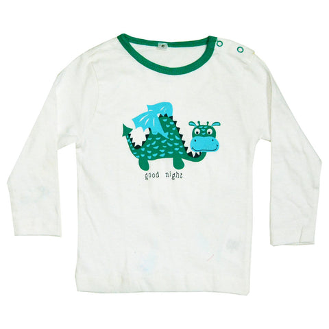 Good Night Dino Green Cotton Night Tshirt