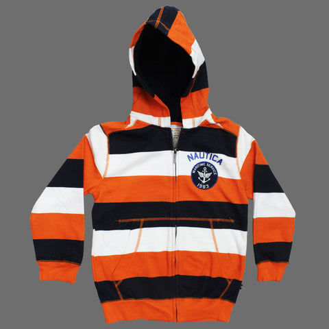 NAUTICA Orange and Navy Stripes SHERPA Hood Boys Fleece Hoodie