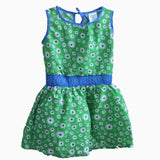 Carters white flower blue waistband green Dress