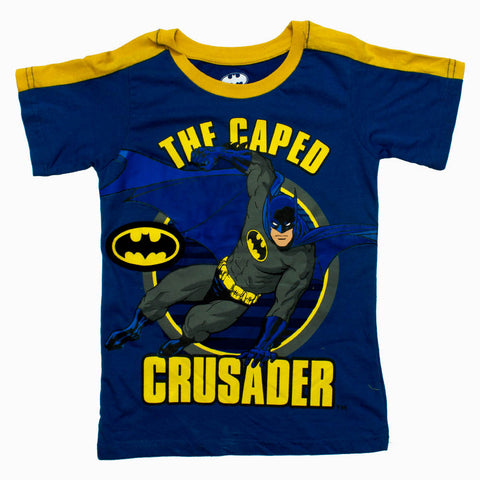 BATMAN Caped Crusade Appliqe logo Boys Blue Tshirt