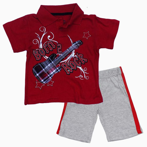 Little Rebel Born to Rock Boys Red 2 piece Set