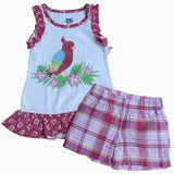 Young Heart red Bird Frock with Pink Color Bottom
