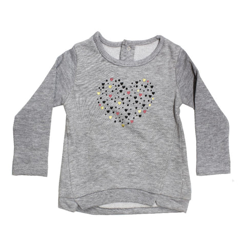 KIMADI Glitter Heart Grey Girls Cotton Sweat Shirt