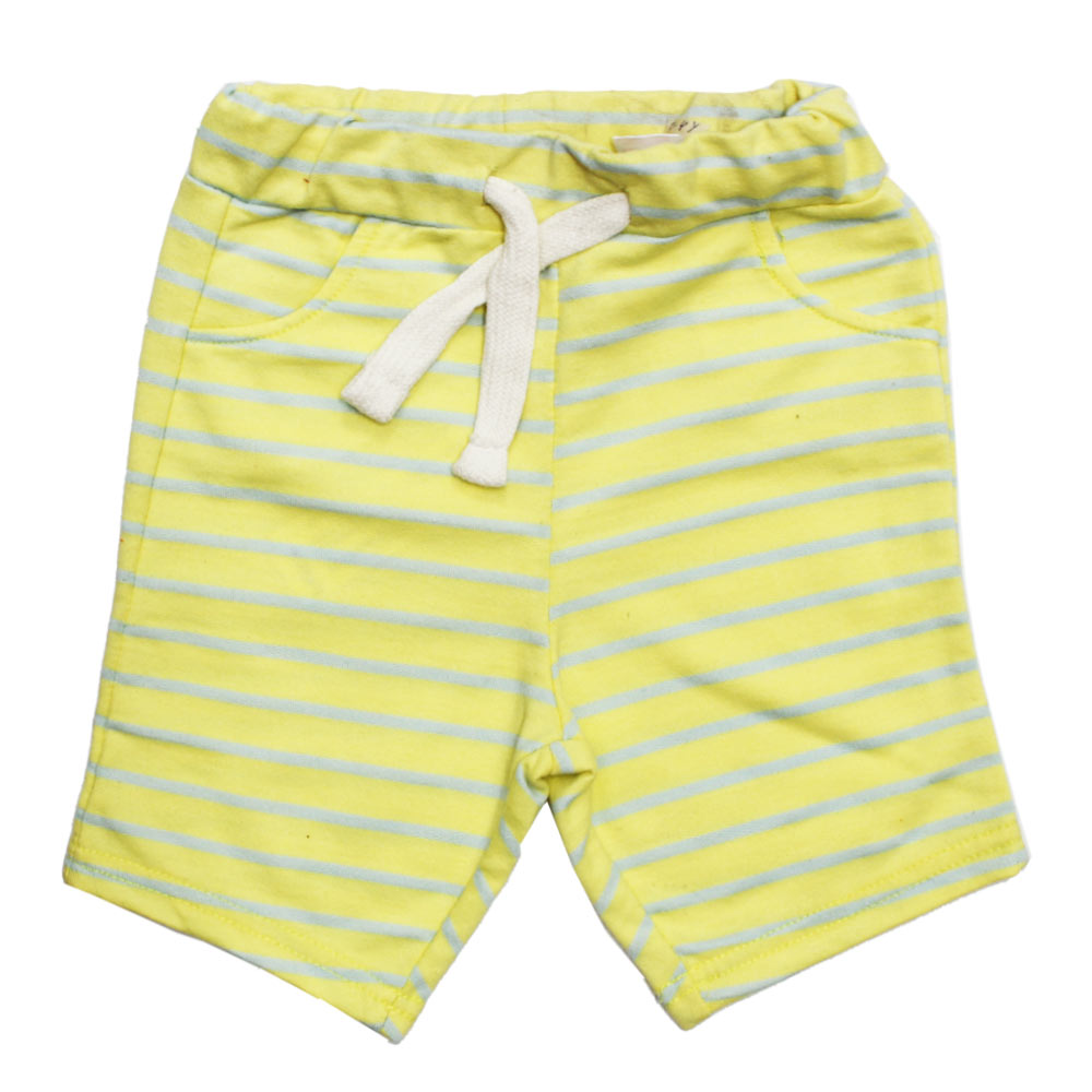 7ec47c446c LEFTIES Yellow and Grey Stripes Yarn Dyed Cotton Terry Boys Shorts