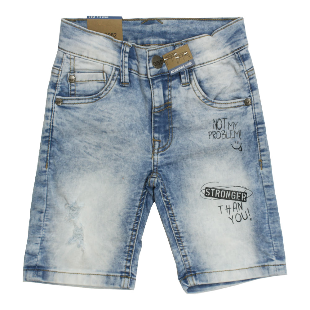 DOPO DOPO Stronger Sand Washed Heavy Ripped Light Blue Boys Denim Short