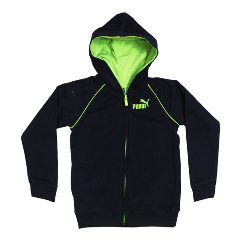 PUMA Green Zip Blue Boys Cotton Fleece Hoodie