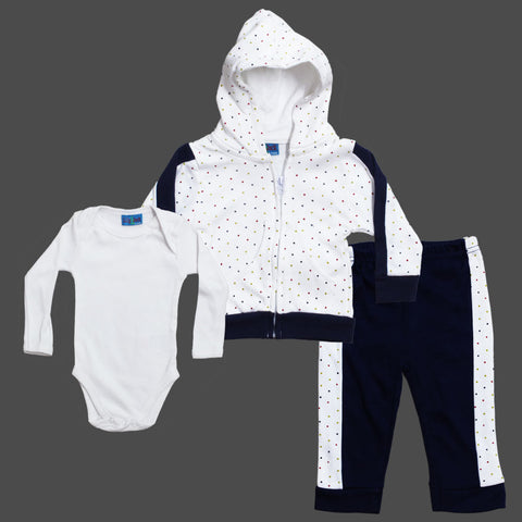 LILY and JACK Boys Blue and White Polka Dots Cotton 3 Piece Set