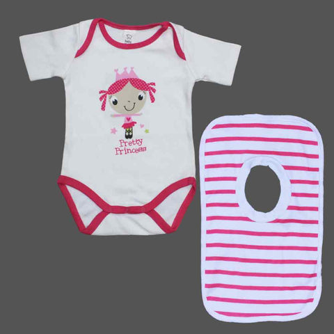 BABY CLUB Pretty Princess Cotton Romper and Bib Bundle