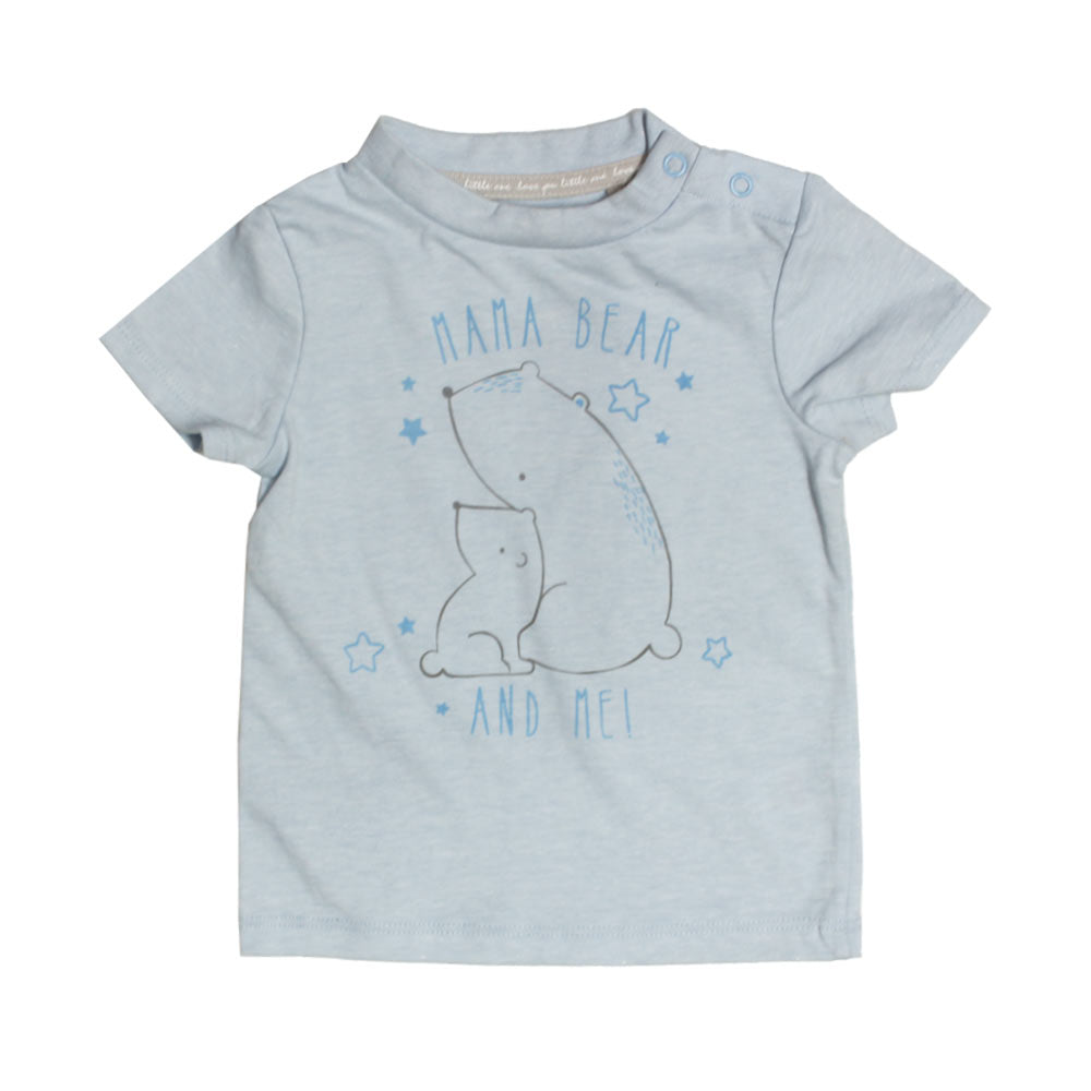 TU Mama Bear Print Light Blue Boys Premium Cotton Tshirt