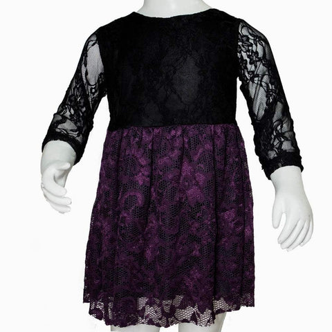 Purple Flower Black net Dress