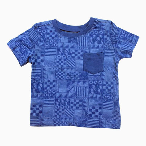 All Over Abstract Printed Boys Ulta Soft Cotton Blue Tshirt