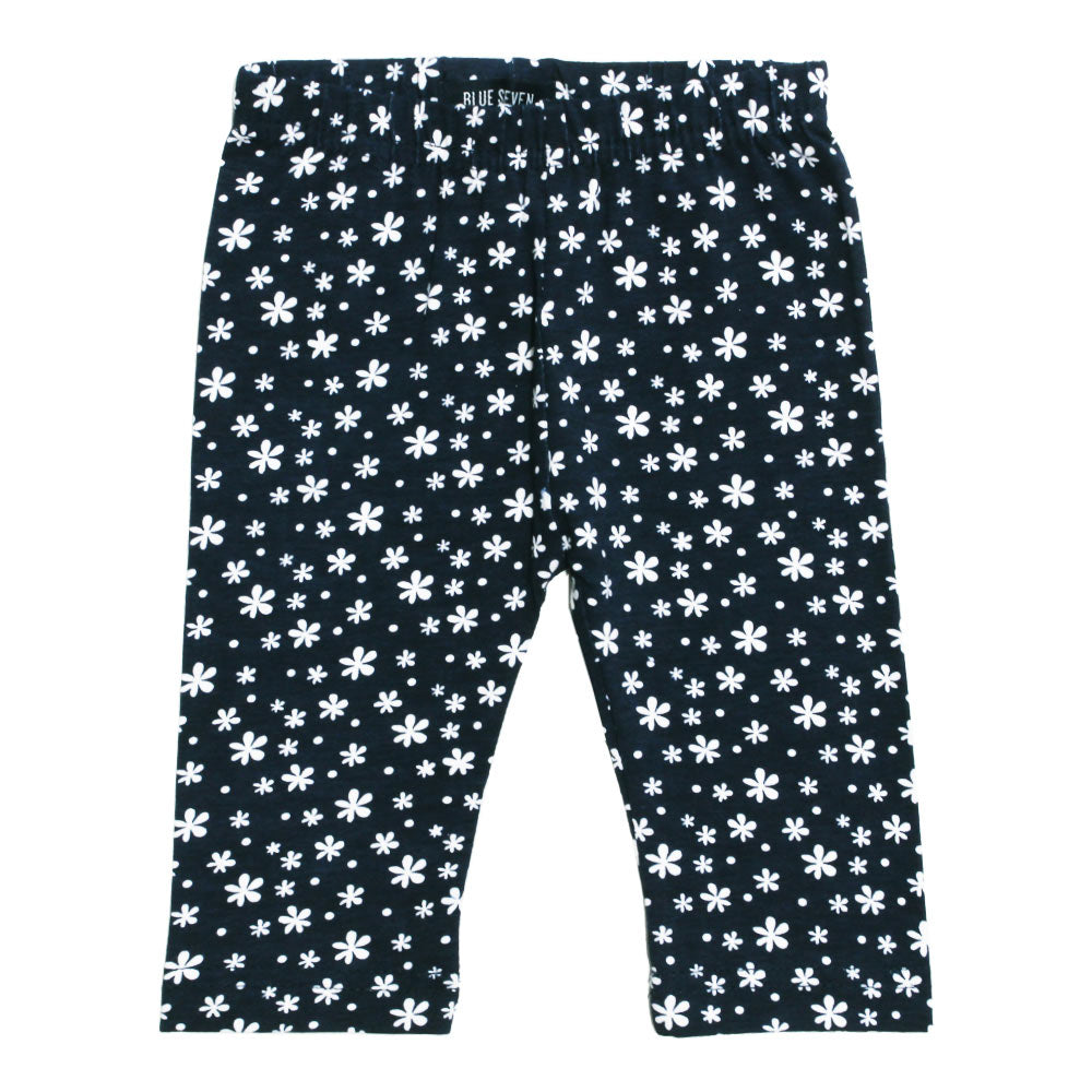 BLUE SEVEN All over Flowers Navy Blue Girls Capris