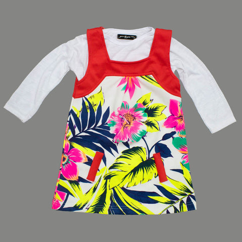 Gee Gee Flower and Leaf Printed 2 Piece Fake Pocket Girls Dress
