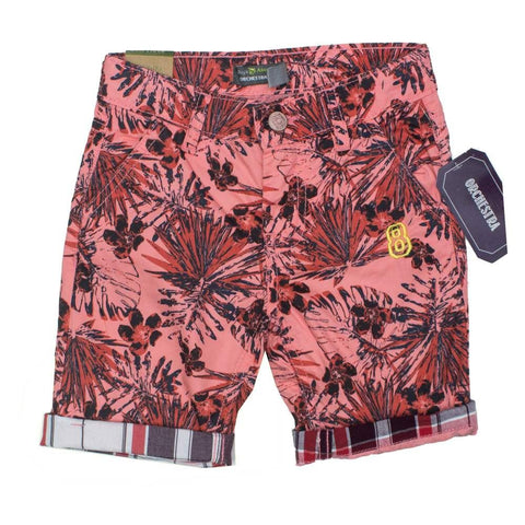 Orchestra Pink Leaves 8 embroidery Boys Shorts