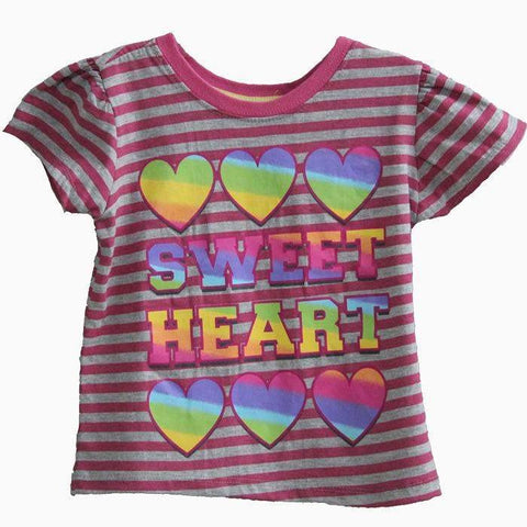 Nannette Pink & Gray Stripes T-shirt