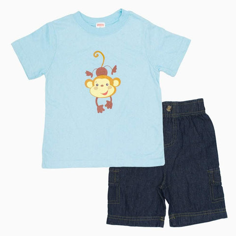 Fisher Price Monkey Fake Pocket Shorts 2 piece Boys Set