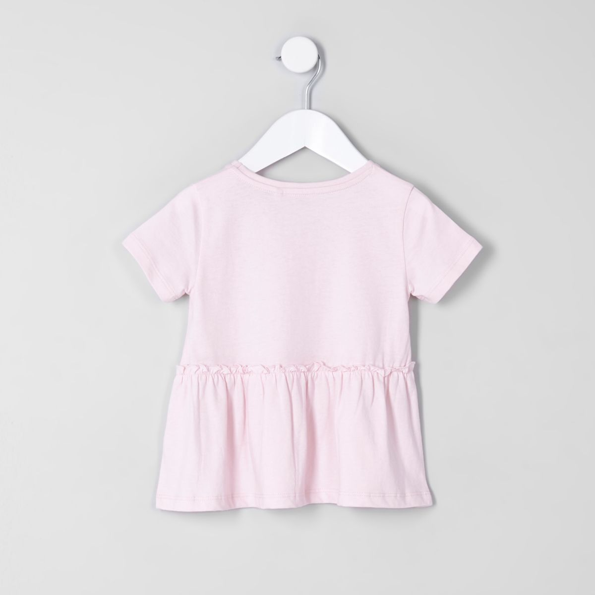 RIVER ISLAND Light Pink Girls Premium Cotton Dress Tshirt