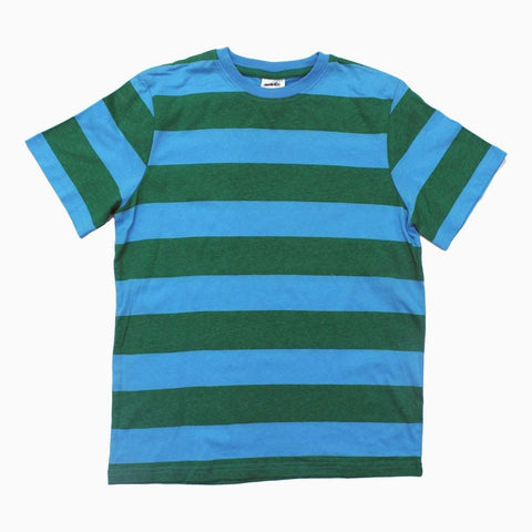 Blue and Green Stripes Boys Cotton Tshirt