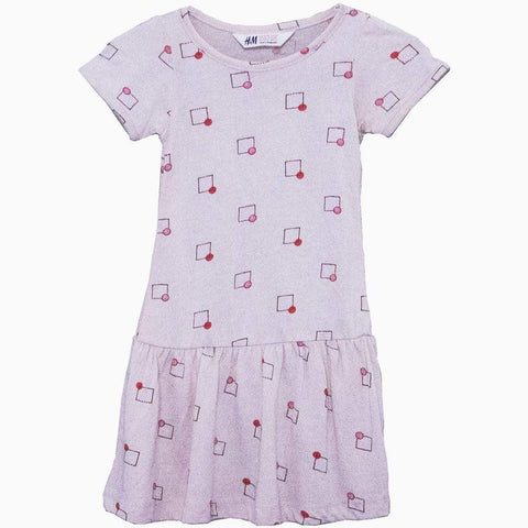 H&M geometry print Peach colour girls dress